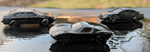 Spray-painted cars